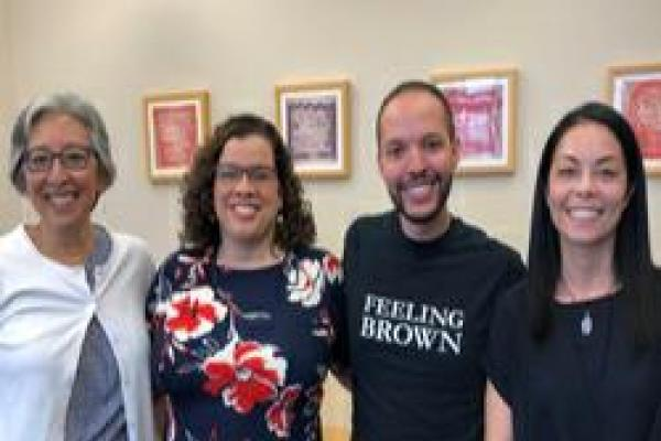 Theresa Delgadillo, Director of Center for Ethnic Studies; Miranda Martinez, Latina/o Studies faculty; Nic Flores, newly minted PhD with GIS in Latina/o Studies; Namiko Kunimoto, Director of Asian American Studies.