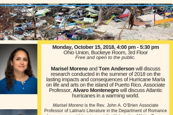 Presentation on Hurricane Maria and Puerto Rico October 15 at 4 to 5 30 PM